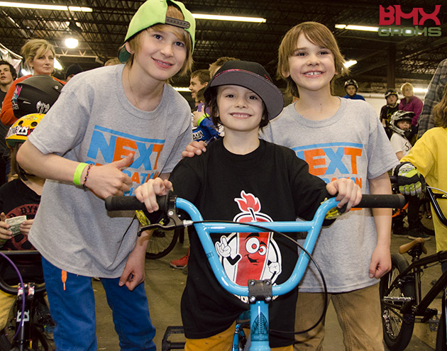 Lukas and Nathan Halahan with the winner of one of the Sunday Primer BMX Bikes.
