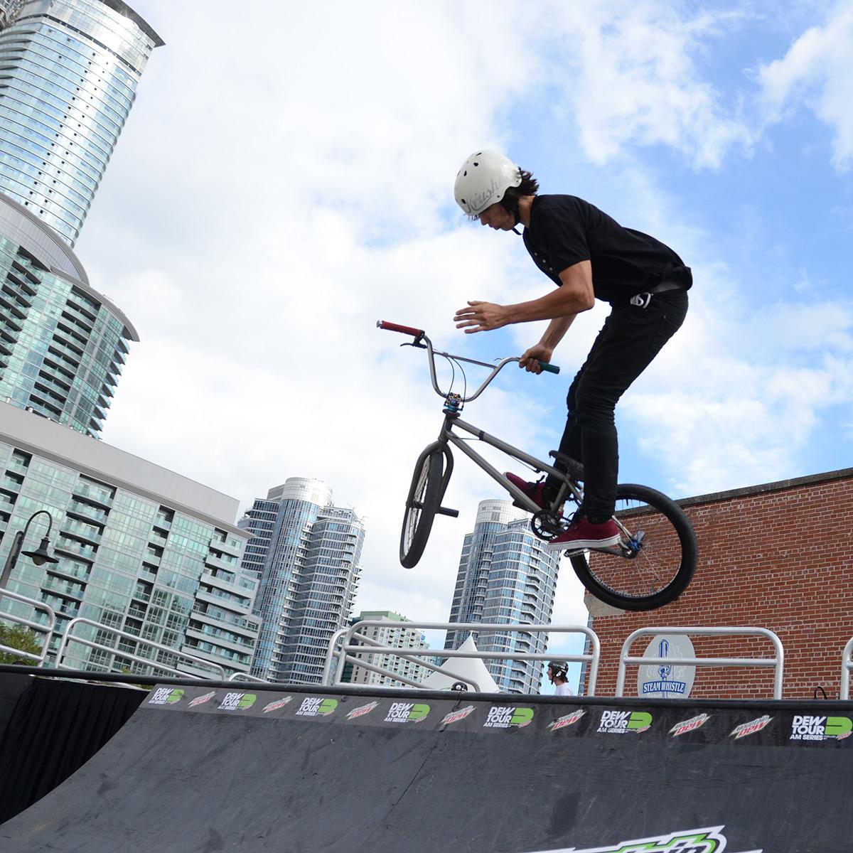 Joel Bondu 540 bar to footjam to bar in at BMX Dew Tour Am Series in Toronto