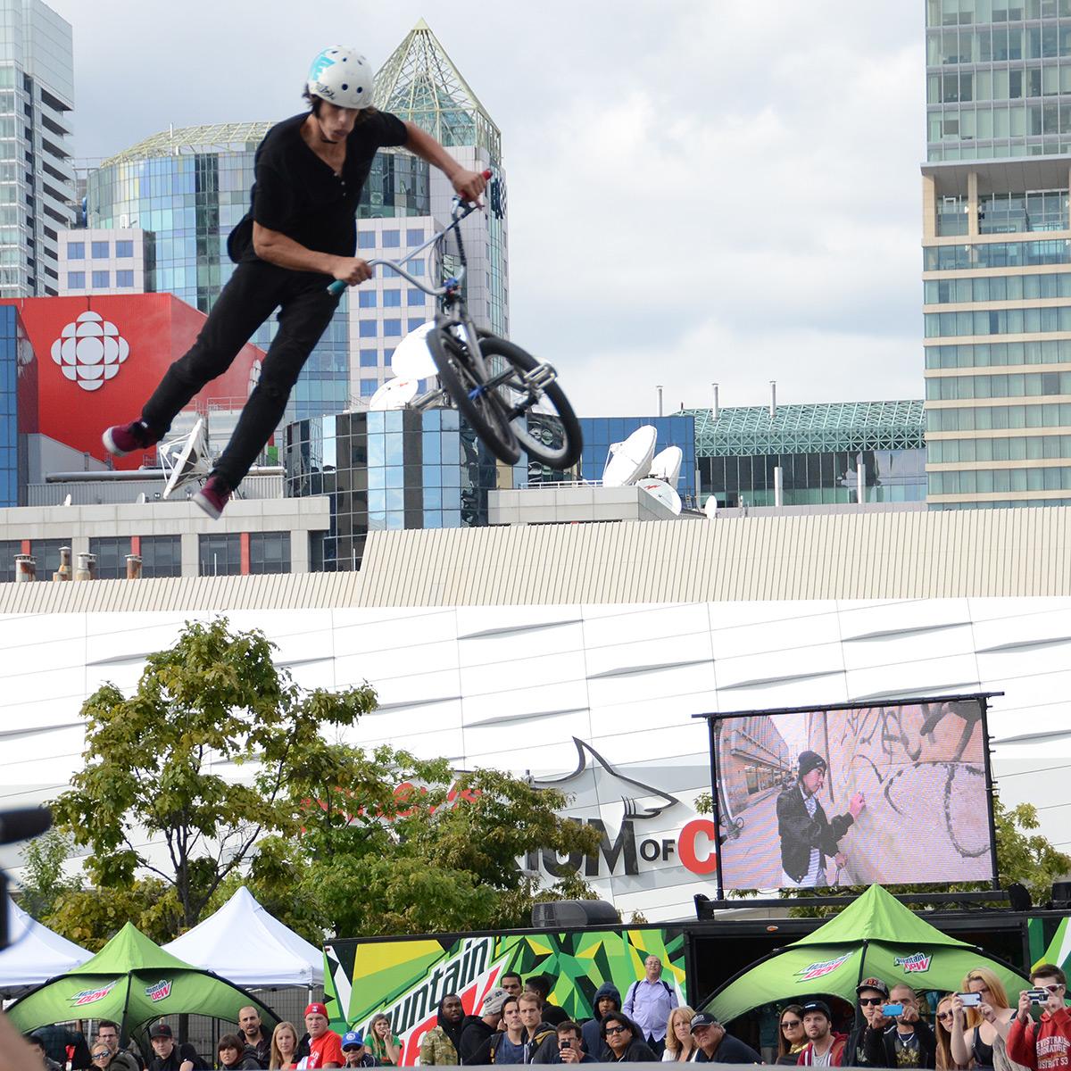 Joel Bondu whips at BMX Dew Tour Am Series in Toronto