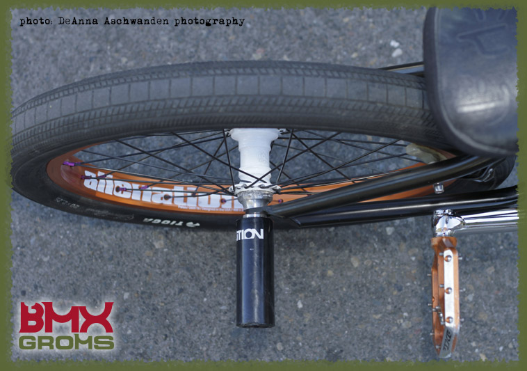 BMX Groms Bike Check with Bryce Tryon - rear wheel top view.