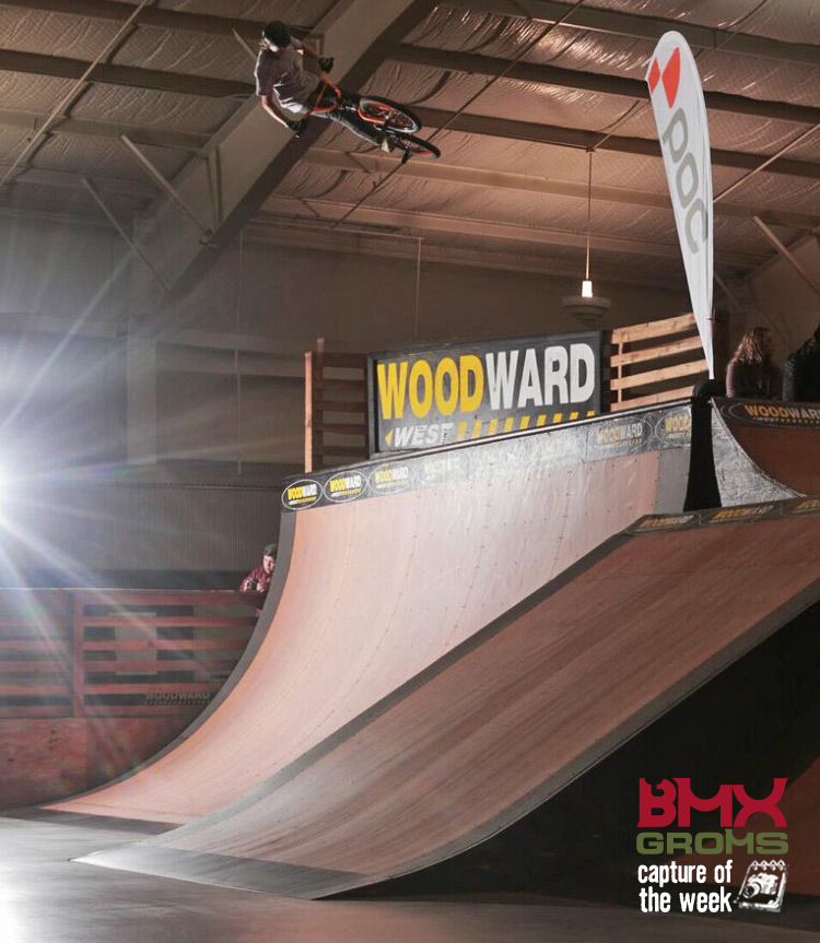 BMX Rider Bryce Tryon blasting a 9 foot air on the quarter pipe at Woodward West