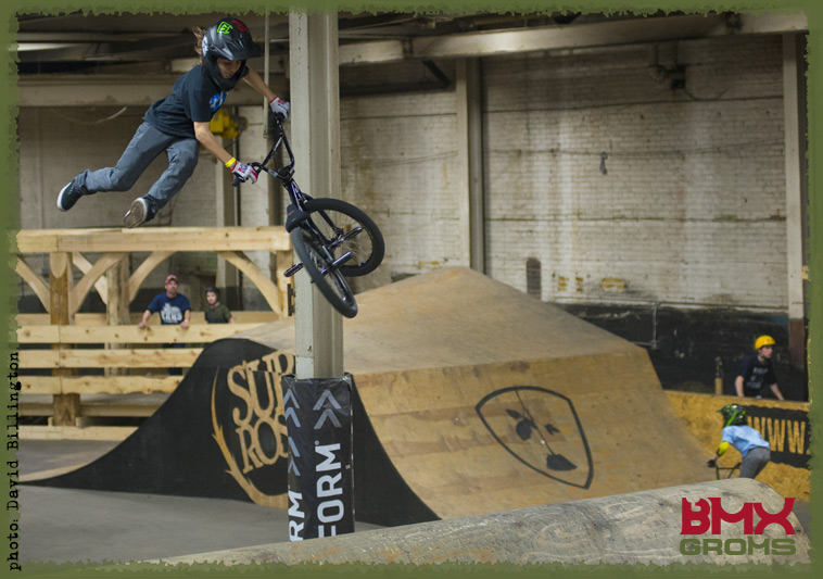 Brady Baker busts a tailwhip air in the Woods Jump Room at the Wheelmill indoor BMX Park.