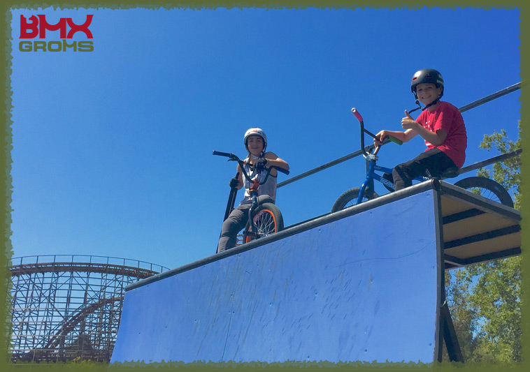 Bryce Tryon and Kaden Stone chillin out on the half pipe deck between BMX Shows at Northern California's Great America theme park on the July 4th weekend.