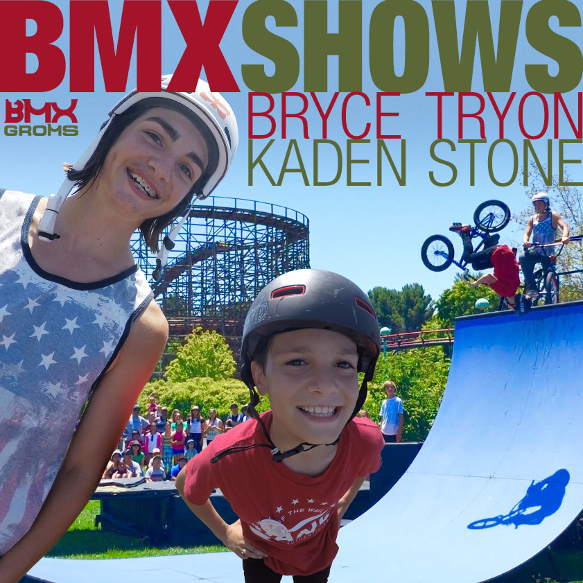 Young BMX Riders Bryce Tryon and Kaden Stone Perform BMX Shows in California