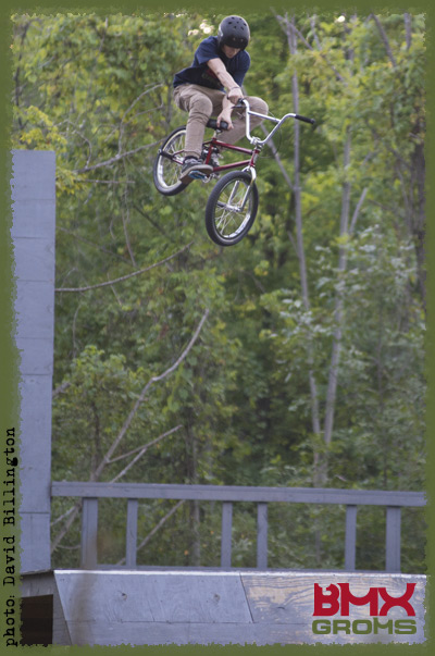Jayden Mucha dumps a t-bog on his backyard ramp setup.
