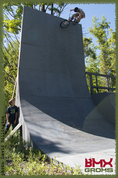 Jayden Mucha blasts his backyard vert wall.