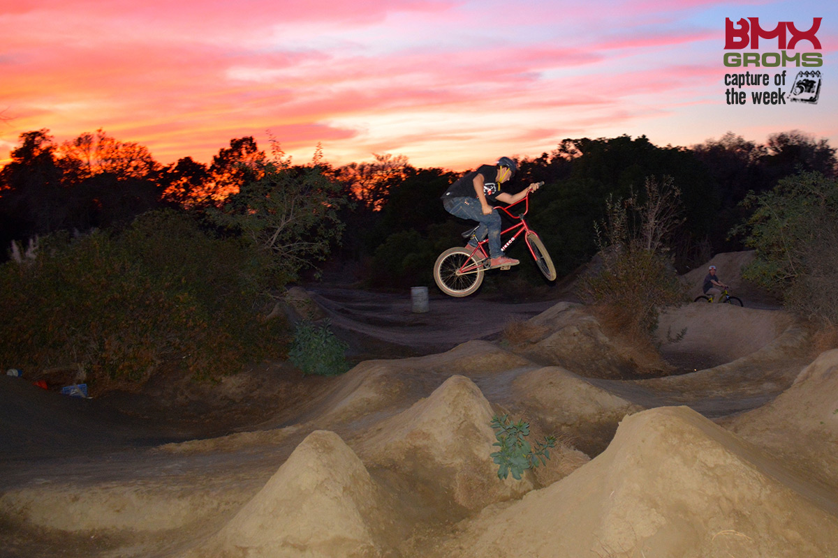Zachary getting some airtime at Sheep Hills while the sun goes down and taking BMX Groms Capture of the Week