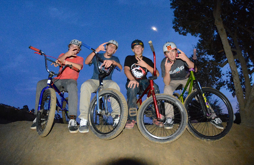 Zach and the BMX squad at Sheep Hills. BMX is all about having fun on bikes