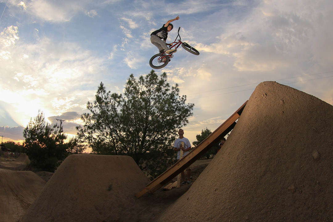 "BMX Grom Kaden ""Dubby"" Stone chilling with some huge air at Menife CA trails."
