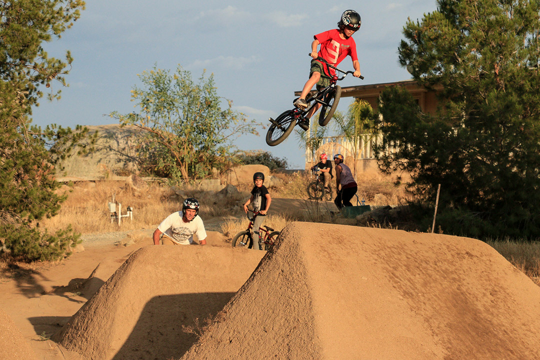 Rad shot of Ryder Lawrence at Woodward West Trails