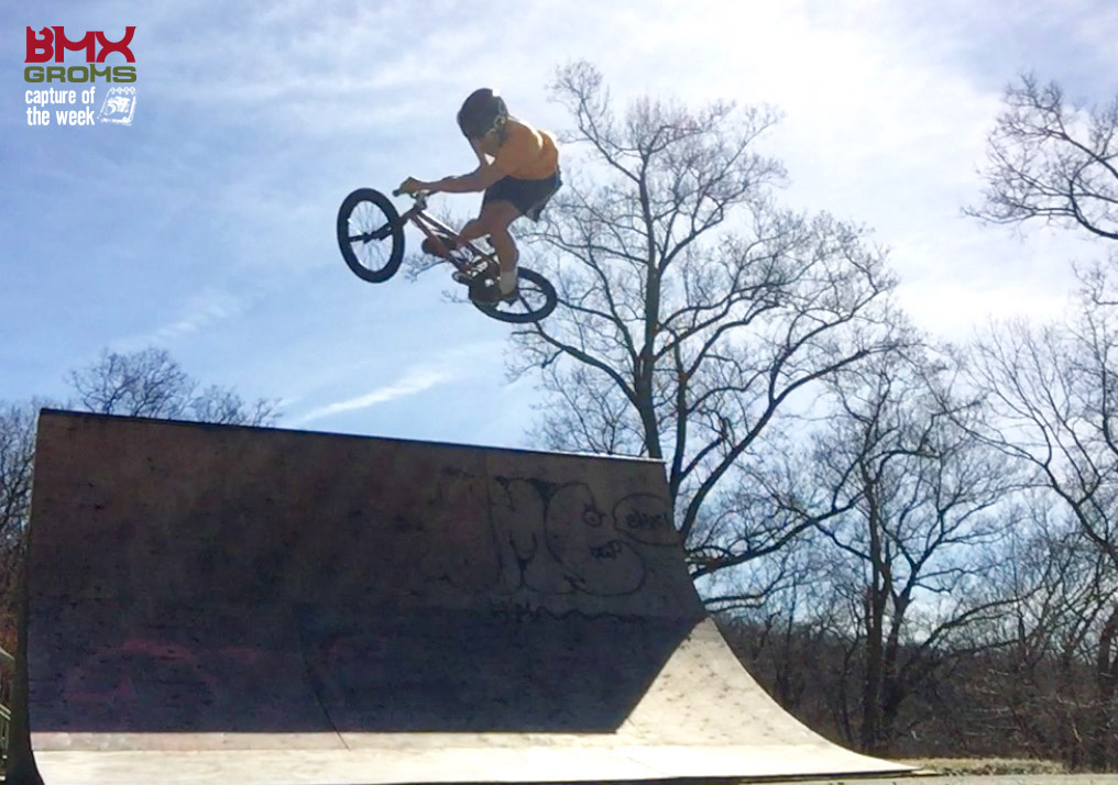 Derrick Maher, lays down a stylish table on his backyard ramp and gets BMX Groms Capture of the Week.