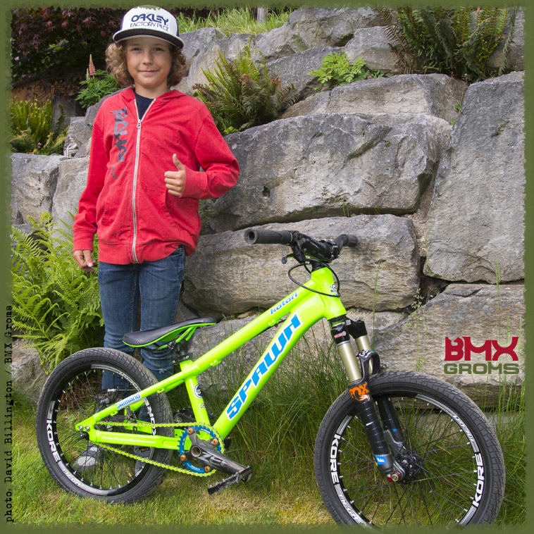 Jackson Goldstone with his Spawn Bikes MTB